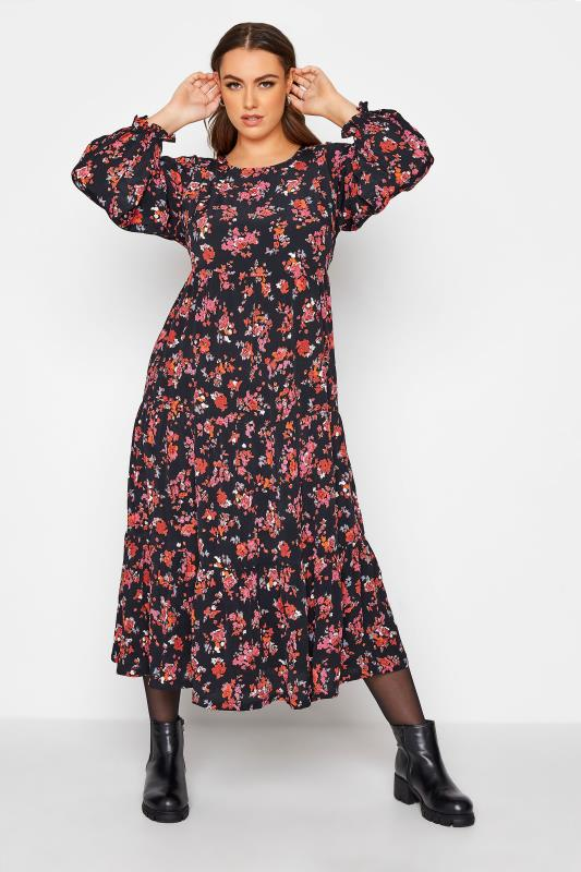 Plus Size  LIMITED COLLECTION Black Floral Tiered Smock Maxi Dress