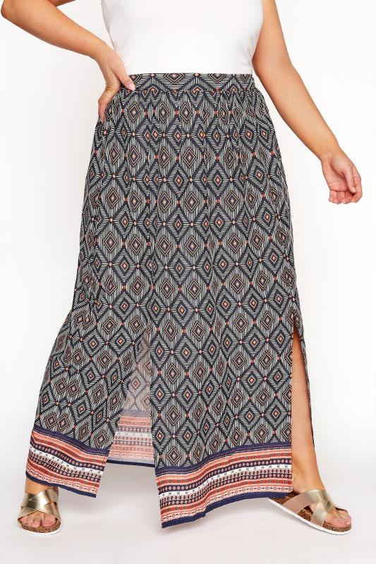 Plus Size Beauty Blue Aztec Border Split Maxi Skirt