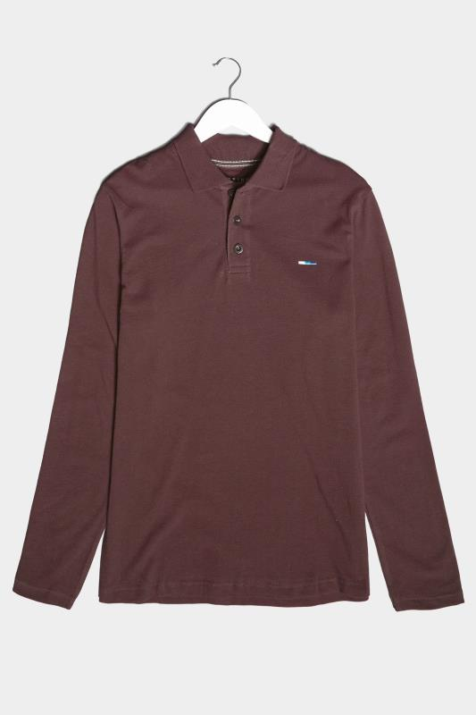 BadRhino Burgundy Essential Long Sleeve Polo Shirt