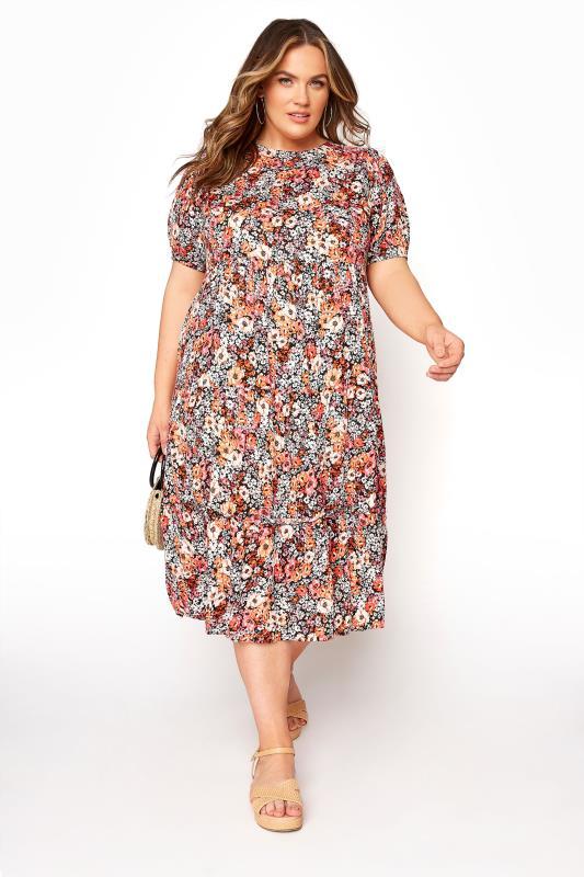 Plus Size  Orange Tiered Midaxi Dress