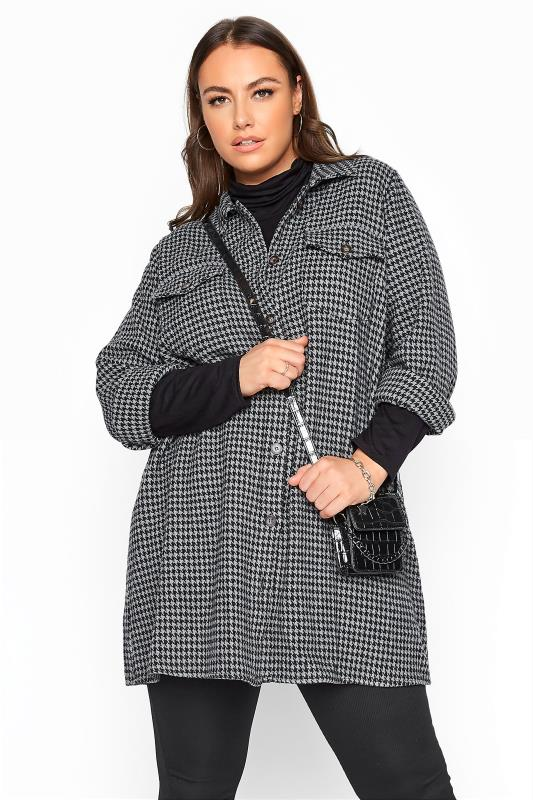 Plus Size  LIMITED COLLECTION Grey Dogtooth Check Shacket