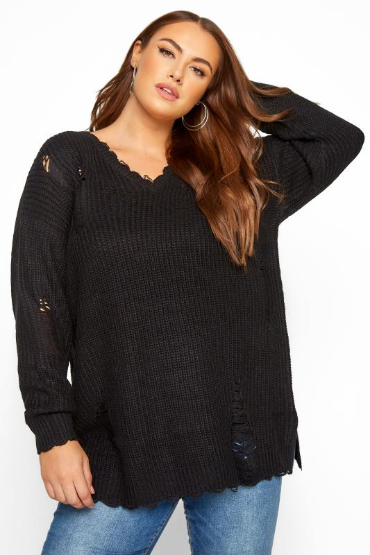 Plus Size Jumpers Black Distressed Knitted Jumper