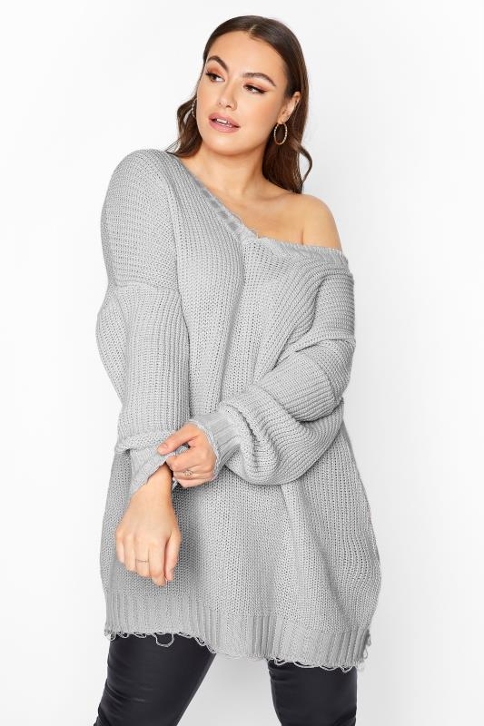 Plus Size  Grey Distressed Oversized Knitted Jumper