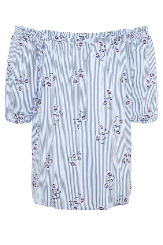 Blue Stripe Floral Button Bardot Top_bk.jpg