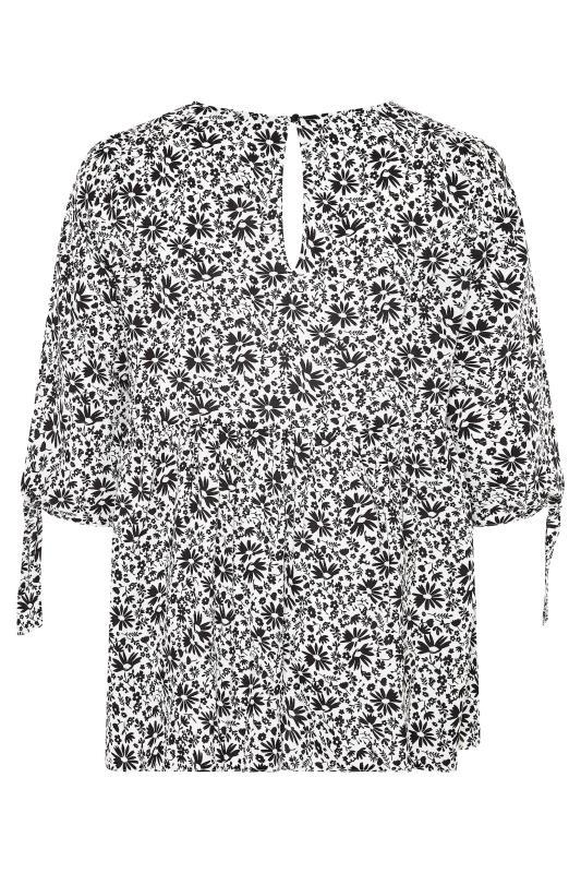 THE LIMITED EDIT White Floral Tie Sleeve Peplum Blouse_BK.jpg