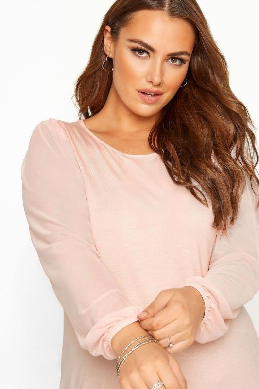 YOURS LONDON Pink Mesh Sleeve Top