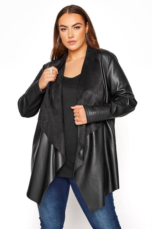 Plus Size  Black Waterfall Faux Leather Jacket