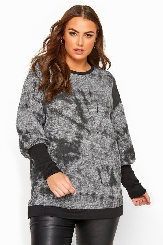 Plus Size Knitted Tops Grey Tie Dye Cuffed Knitted Top