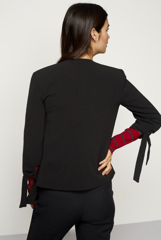 Black Tie Sleeve Textured Jacket