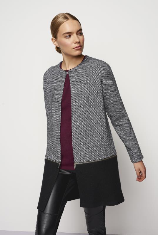 Karl Lagerfeld Paris Mixed Tweed Longline Jacket