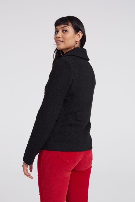 Black Textured Boucle Swing Jacket