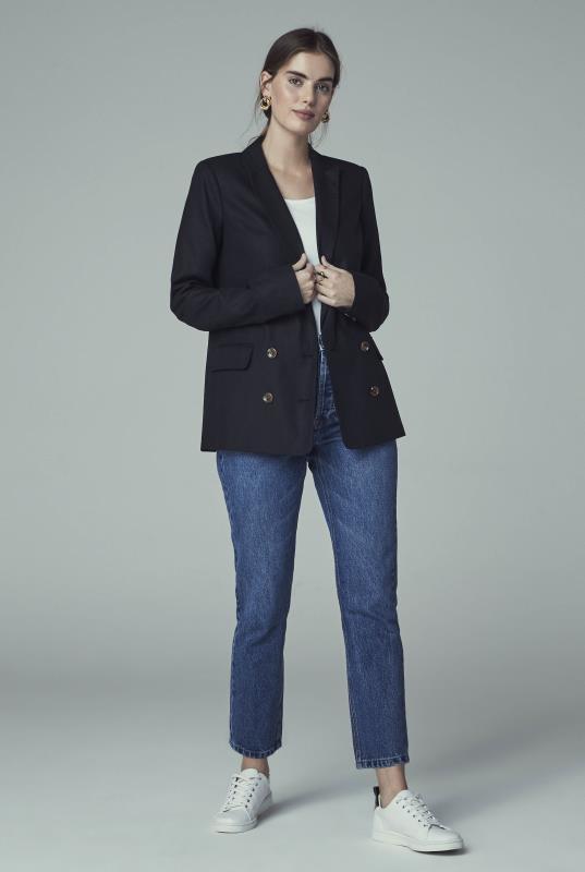 Black Natural Blend Double Breasted Jacket