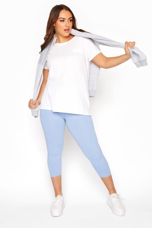 Plus Size  Light Blue Cropped Leggings
