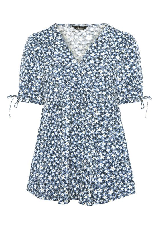 LIMITED COLLECTION Blue Floral Wrap Front Smock Top_F.jpg