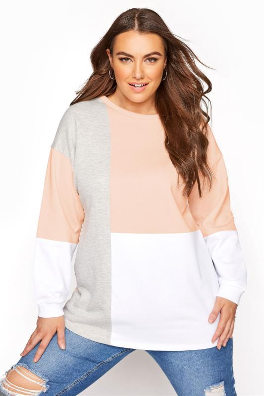 Plus Size  Pink Colourblock Sweatshirt