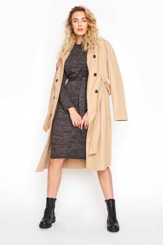 LTS Black Marl Belted Midi Dress