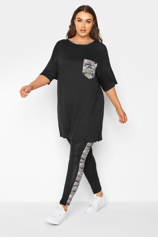 Grande Taille LIMITED COLLECTION Black Camo Side Panel Leggings