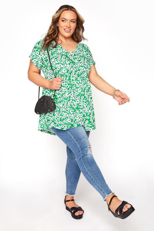 Green Floral Button Through Peplum T-Shirt