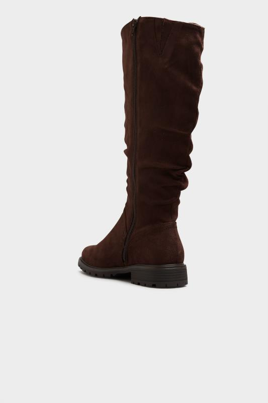 Chocolate Brown Ruched Cleated Boots In Regular Fit_D.jpg