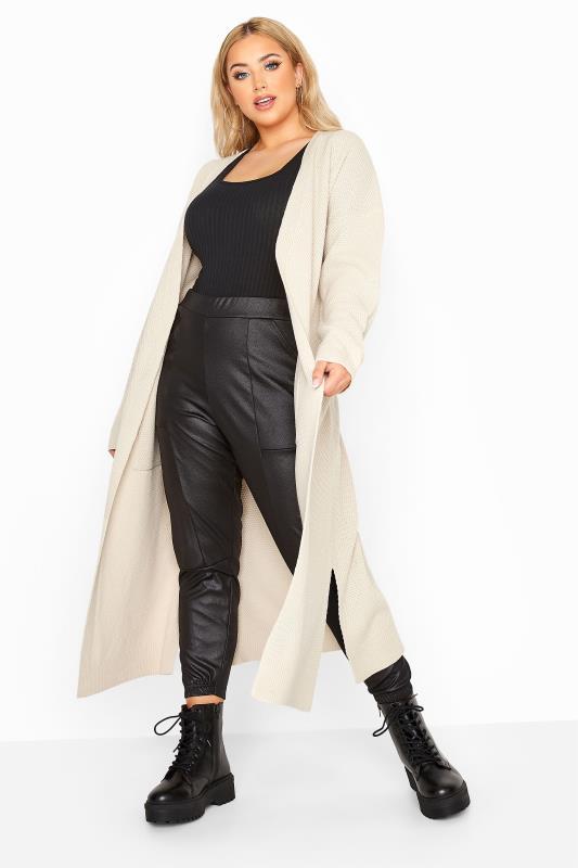 Plus Size  Stone Chunky Knitted Midi Cardigan