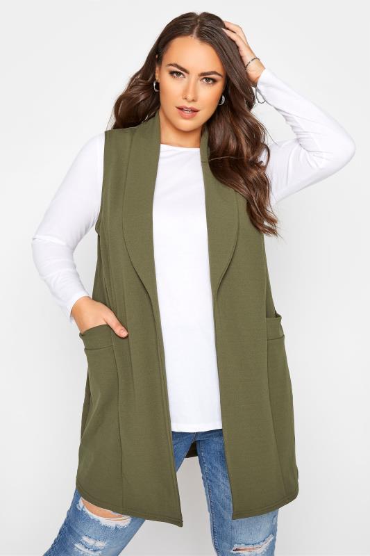 Plus Size  Khaki Sleeveless Blazer