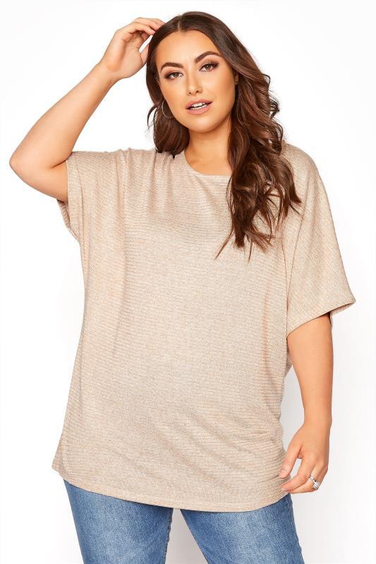 Plus Size  Beige Marl Grown On Sleeve Top