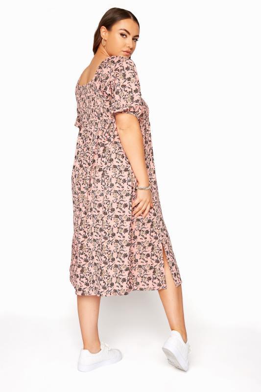 Pink Floral Shirred Front Split Hem Midi Dress_C.jpg