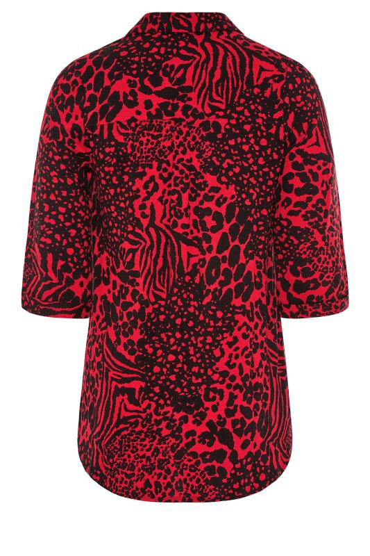 YOURS LONDON Red Animal Print Button Blouse_BK.jpg