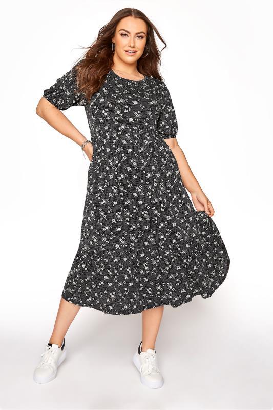 Black Floral Frill Hem Midi Dress_A.jpg