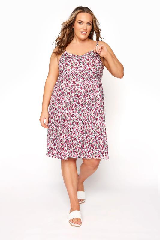 Plus Size  White Ditsy Floral Button Front Cami Dress