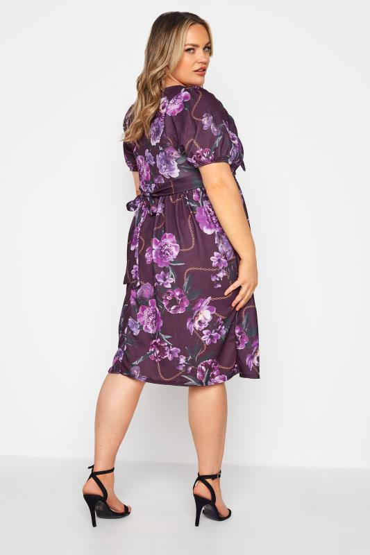 YOURS LONDON Purple Floral Bow Front Dress_C.jpg