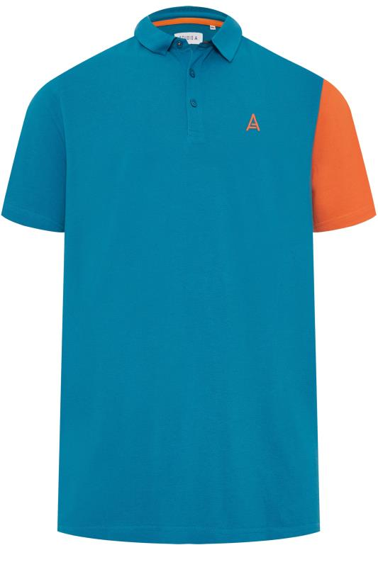 Plus Size Polo Shirts STUDIO A Blue Colour Block Polo Shirt