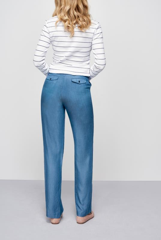 LONG ELEGANT LEGS Blue Tie Belted Chambray Trousers