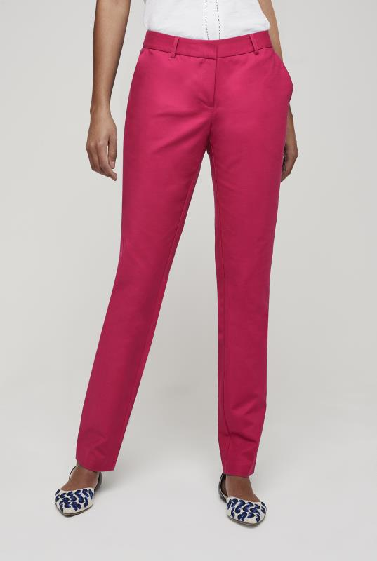 Pink Slim Fit Cotton Trousers
