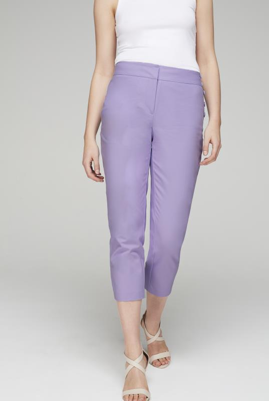 Tall Trousers Lilac Cotton Cropped Trousers