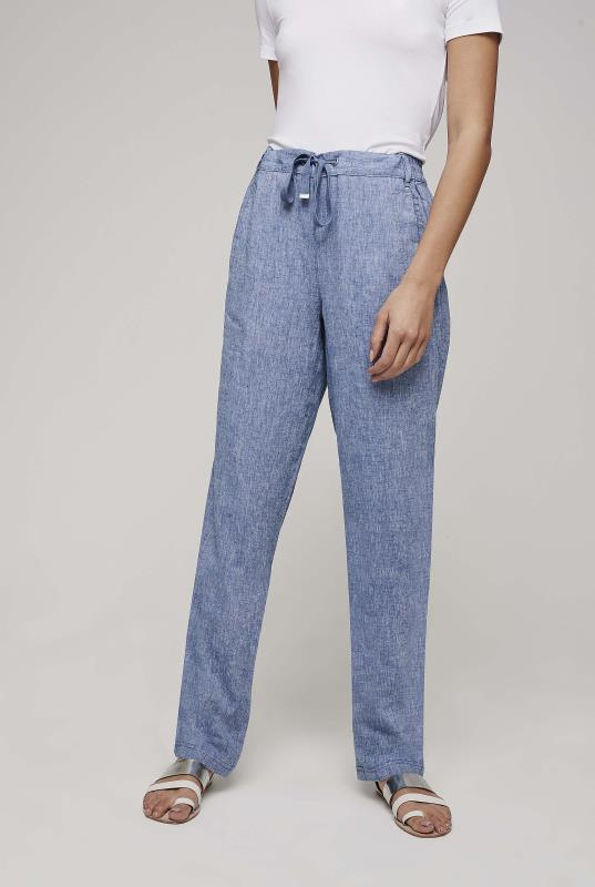 Blue Crosshatch Linen Tapered Trousers