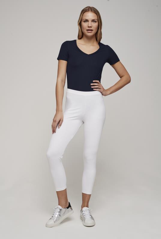 White Crop Jersey Legging