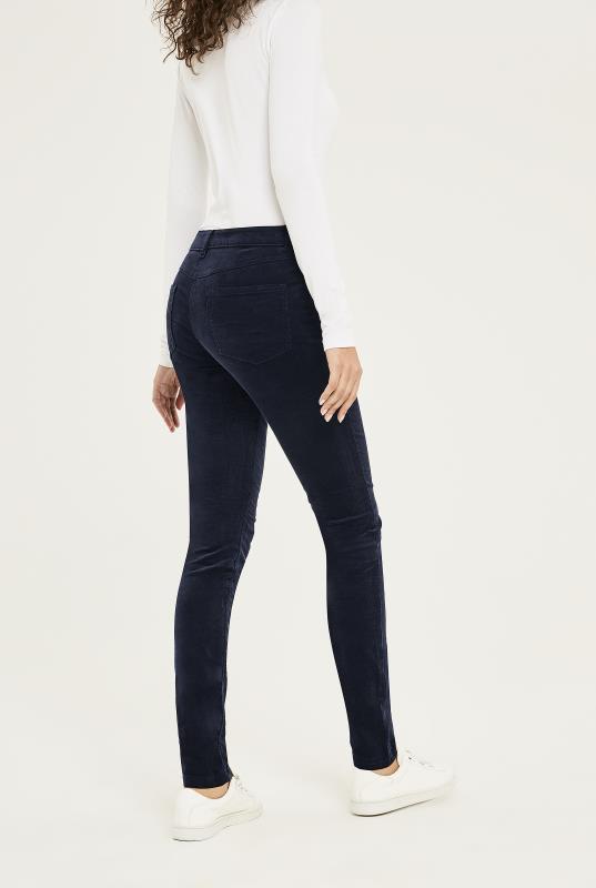 Navy Corduroy Biker Skinny Trousers