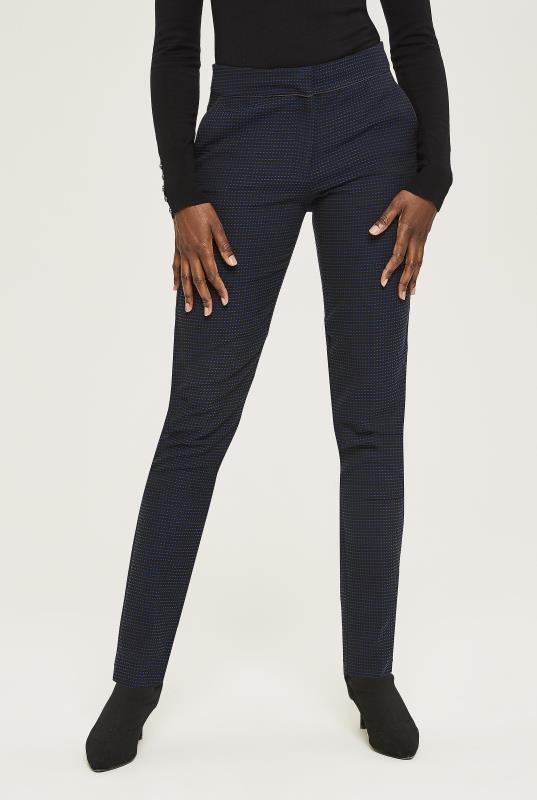 Navy Jacquard Slim Leg Trousers