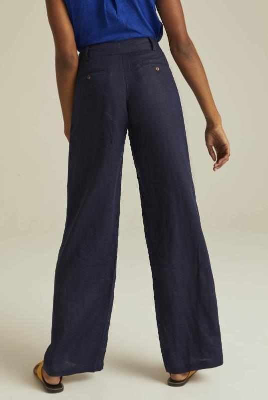 Navy Wide Leg Linen Trousers