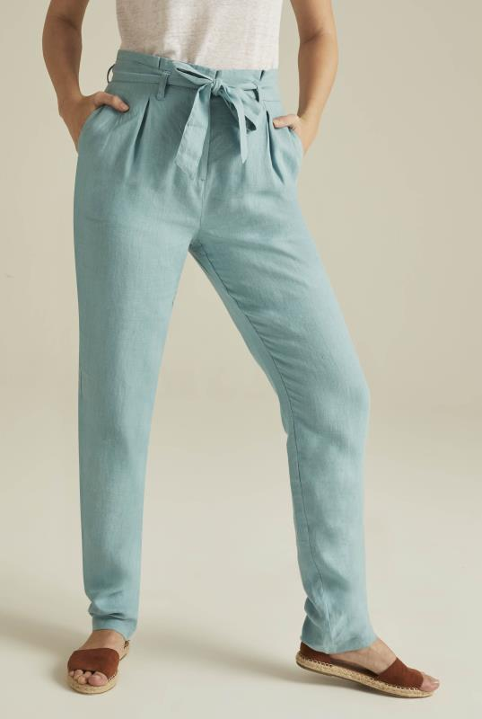 Tall Trousers Blue Belted Paperbag Waist Linen Trousers