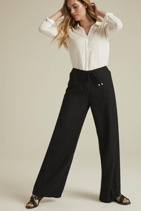 Black Tie Waist Wide Leg Linen Trousers