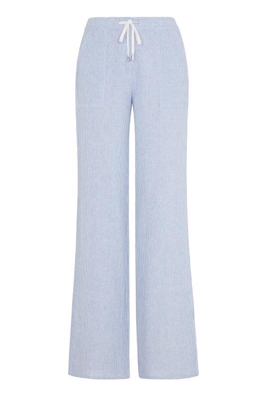 Stripe Tie Waist Wide Leg Linen Trouser