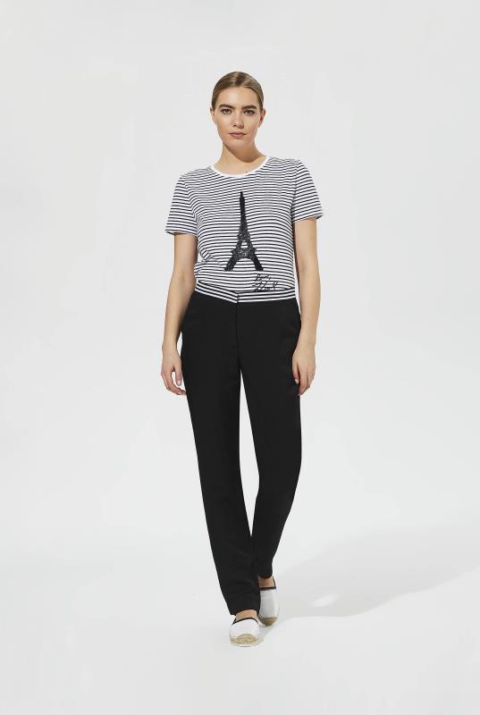 Karl Lagerfeld Paris Stripe Waistband Black Trousers
