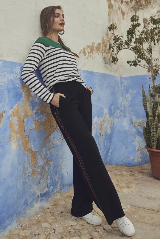 Tall Trousers Black Side Stripe Wide Leg Trousers