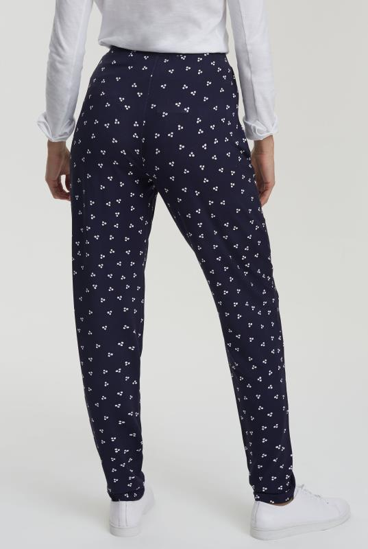 Navy Printed Slim Fit Jersey Trousers