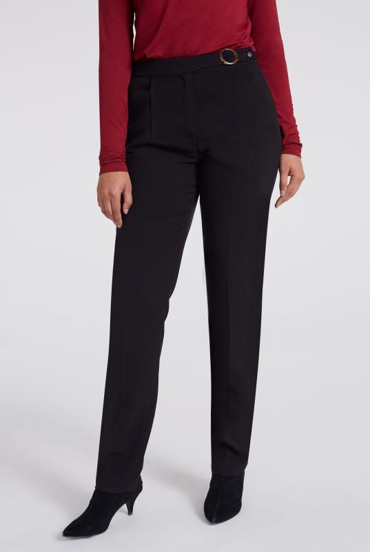 Black Double Faced Tapered Trouser