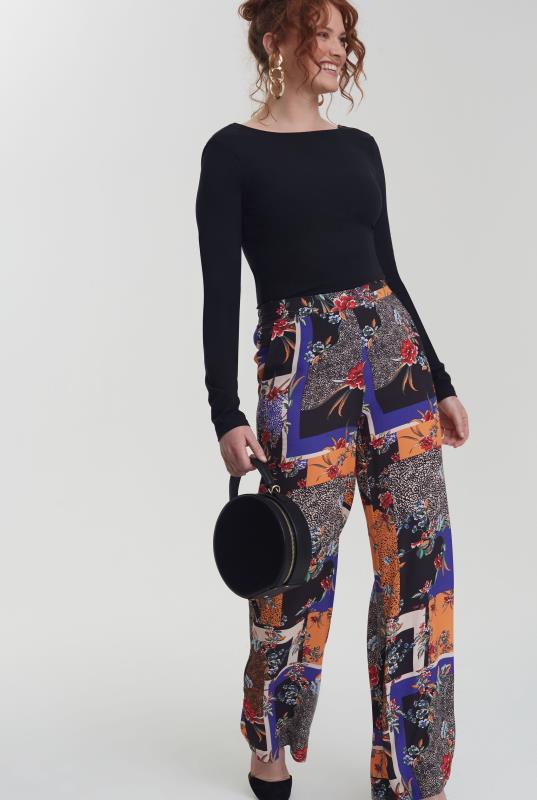 Mix Scarf Print Wide Leg Trouser