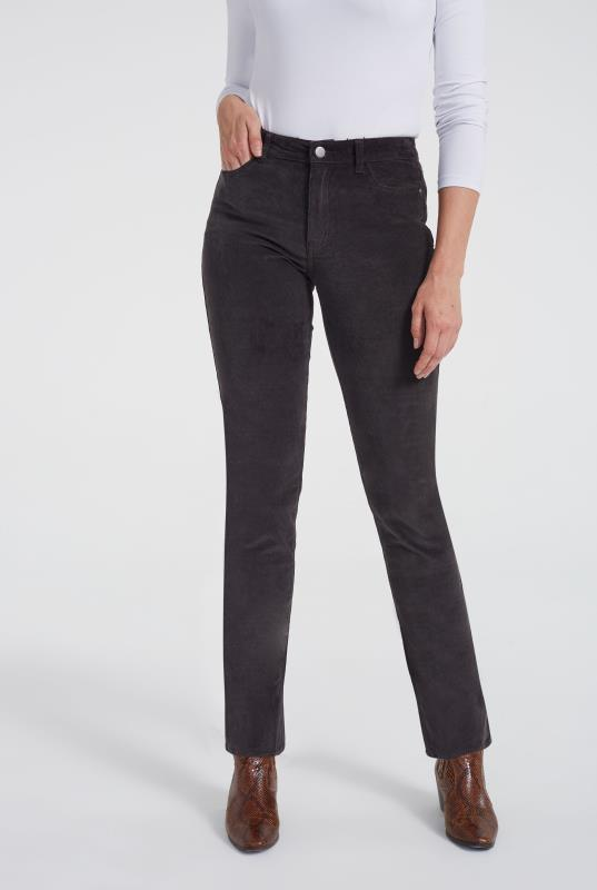Grey Cord Straight Leg Trouser