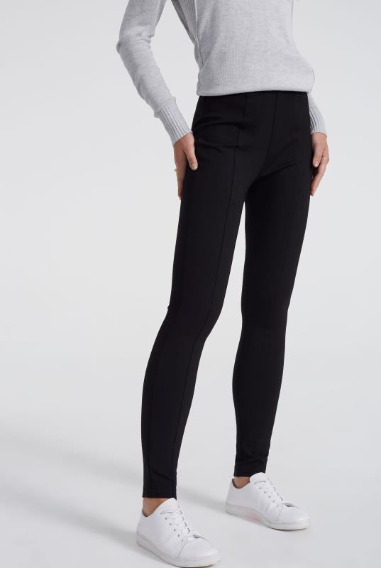 Black Ponte Thick Waistband Leggings